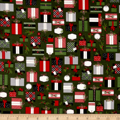 Riley Blake Christmas Delivery Presents Green