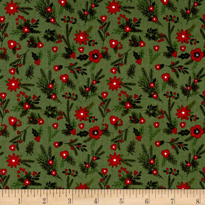 Riley Blake Christmas Delivery Floral Green