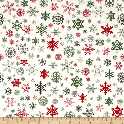 Riley Blake Christmas Delivery Snowflakes Cream