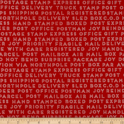 Riley Blake Christmas Delivery Text Red