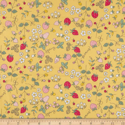Riley Blake Serendipity Strawberries Yellow