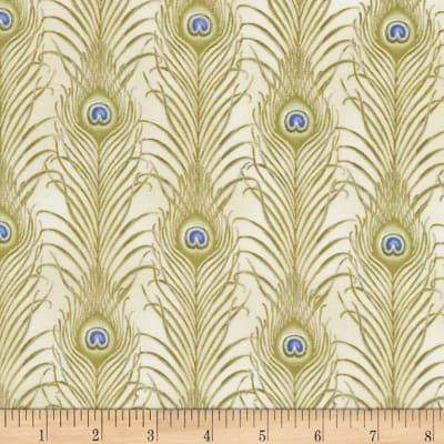 Timeless Treasures Feathered Peacock Linear Feathers Metallic Latte