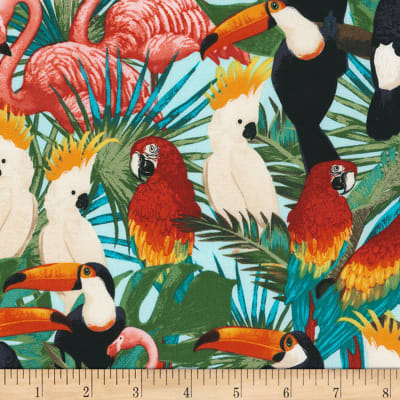 Timeless Treasures Miami Tropic Tropical Birds Bright