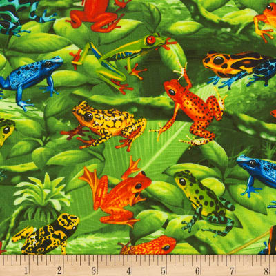Timeless Treasures Tree Frogs Green