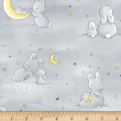 Timeless Treasures Little Star Bunnies And Little Ones Moons Grey