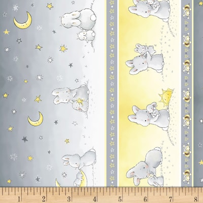 "Timeless Treasures Little Star Flannel 11"" Bunny Stripe Grey"