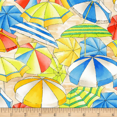 Timeless Treasures Beach Holiday Umbrellas Multi