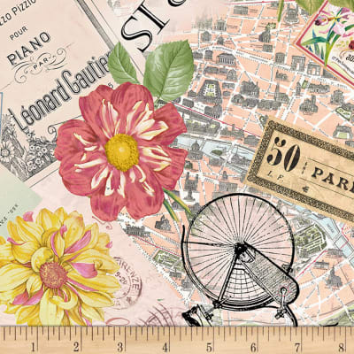 Timeless Treasures Paris Postcards And Sunflowers Collage Multi