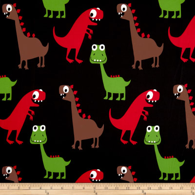 Double Brushed Spandex Jersey Knit Dinosawrs on Black