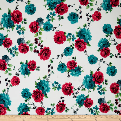 Double Brushed Spandex Jersey Knit Roses Red/Teal