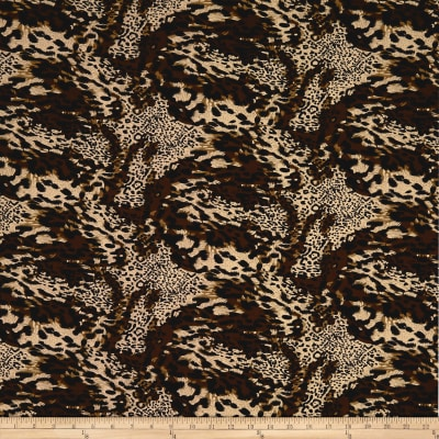 Double Brushed Spandex Jersey Knit Multi Animal Print Brown