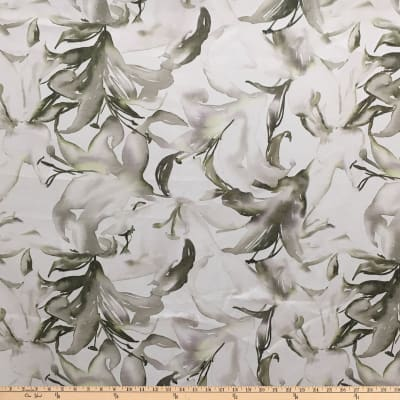 Telio Digital Printed Linen Abstract Ecru Olive