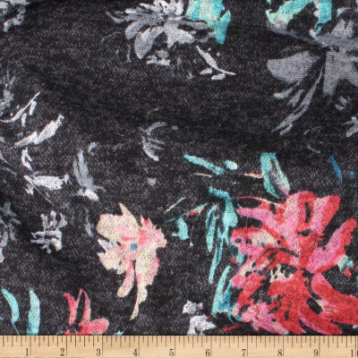 Telio Knit Knack Brushed Sweater Knit Print Floral Black