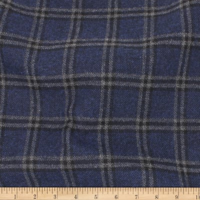 Telio Wool Mix Plaid Suiting Plaid Dark Blue