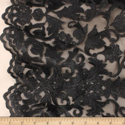 Telio Royal Embroidery Lace Mesh Black