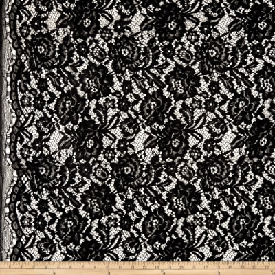 Telio Flora Corded Cotton Nylon Lace Floral Black
