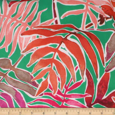 Telio Peyton Crepe de Chine Tropical Leaf Jade Rust