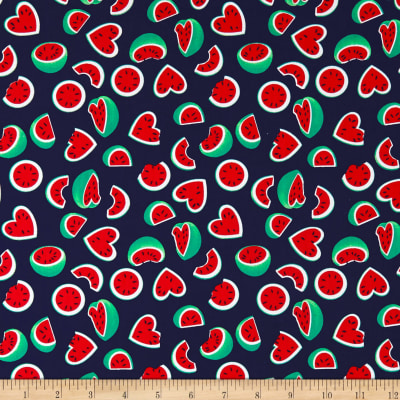 Telio Playtime Cotton Poplin Watermelon Hearts Navy