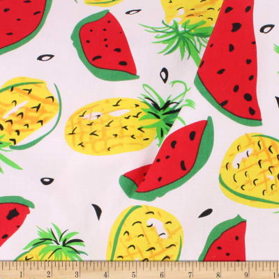 Telio Playtime Cotton Poplin Pineapple Watermelon White