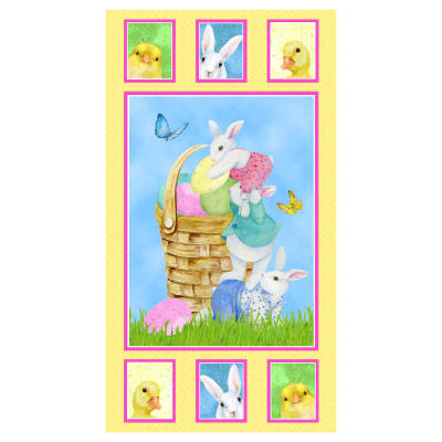 """Henry Glass Easter Parade 24"""" Bunny Panel Multi"""