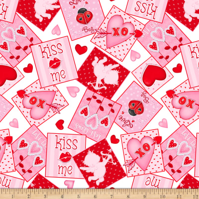 Henry Glass Love Struck Valentine Tossed Patch Pink/Red