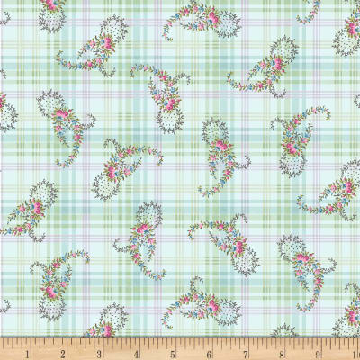 Henry Glass Morning In The Garden Paisley On Plaid Blue