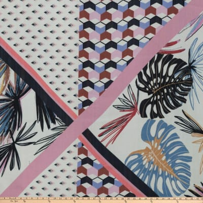 New Patch Palms Crepe Georgette Floral White/Blue/Pink