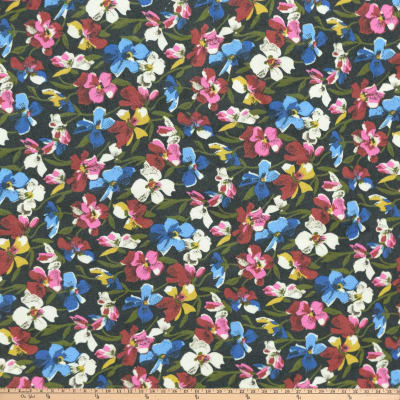 Preview Textiles Retro Hollywood Floral Rayon Challis Floral Black Multi