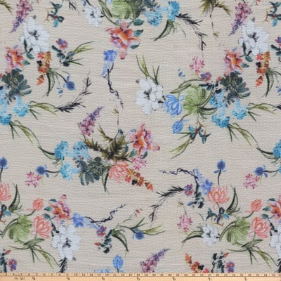 Preview Textiles Unfinished Flowers Pebbled Stretch Crepe Floral Beige