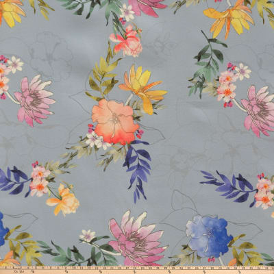 Unfinished Flowers Charmeuse Floral Blue