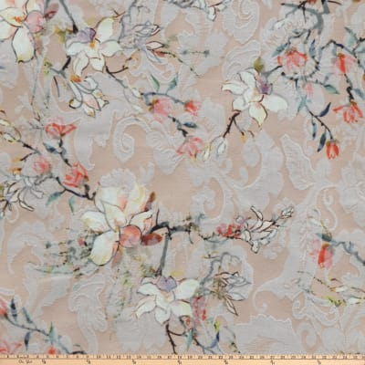 Preview Textiles Romantic Floral  Printed Stretch Jacquard Floral Peach