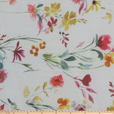 Preview Textiles Watercolor Flower Pebbled Stretch Crepe Floral White