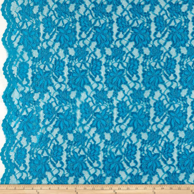 Chantilly Lingerie Lace Double Border Turquoise