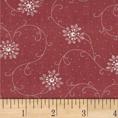 Another Point Of View Vintage Blue Floral Scroll Red