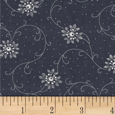 Another Point Of View Vintage Blue Floral Scroll Denim