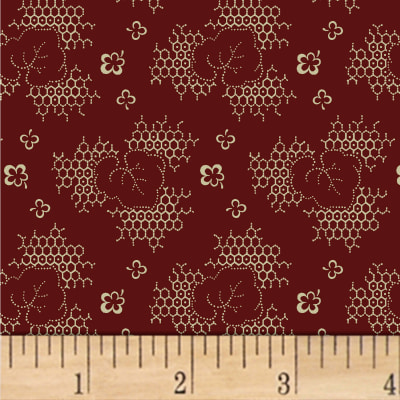 Jill Shaulis Kindred Spirits Gathering Honeycomb Leaf Burgundy