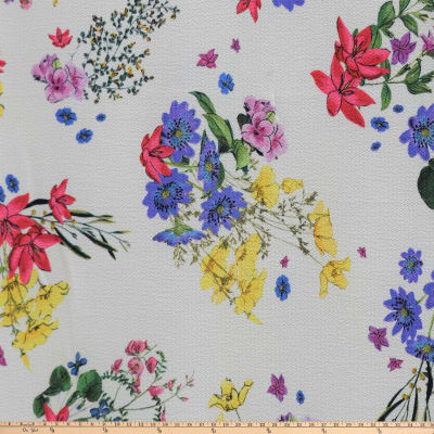 Preview Textiles Spring Flowers Pebbled Stretch Georgette Floral White