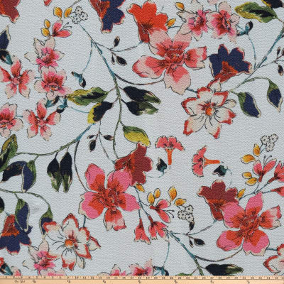 Preview Textiles Flower Blossom Pebbled Stretch Crepe Floral White