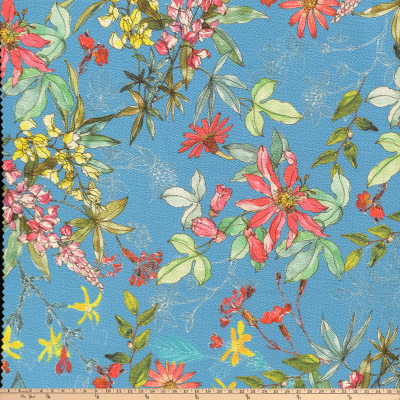 Preview Textiles Botanical Garden Pebbled Stretch Crepe Floral Navy