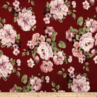 Techno Scuba Knit Floral Blush/Wine