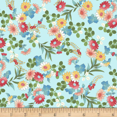 Laura Berringer Ki-Coo Gardens Tossed Flower Sprigs Blue