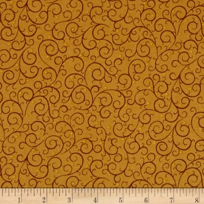 QT Fabrics A Golden Holiday Scroll Gold