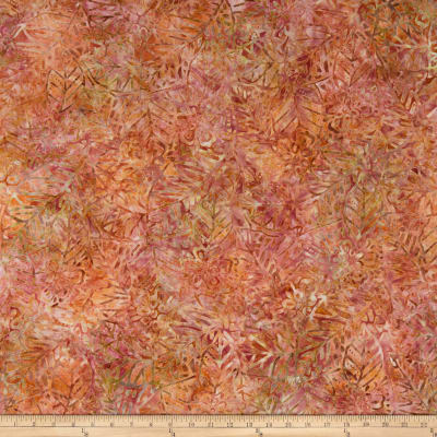 Wilmington Batiks Leaf and Flower Mix Coral/Tan