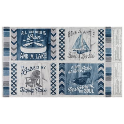 """Wilmington A Day At The Lake Pillow 24"""" Panel Multi"""