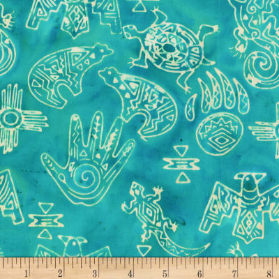 Anthology Fabrics Specialty Batik Southwest Symbols Turquoise
