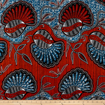 Supreme African Wax Print 6 Yards Broadcloth Blue/Red