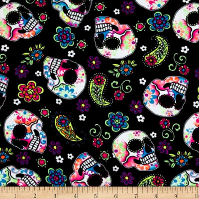 Pine Crest Fabrics Sugar Skulls Athletic Knit Black and Green Neon