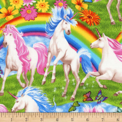Timeless Treasures Jersey Knit Unicorns & Rainbows Multi