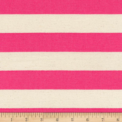 Kaufman Sevenberry Canvas Stripe Heavy Weight Hot Pink