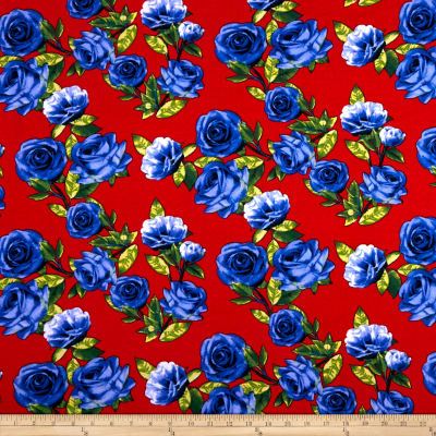 Double Brushed Poly Spandex Jersey Knit Roses Blue on Red